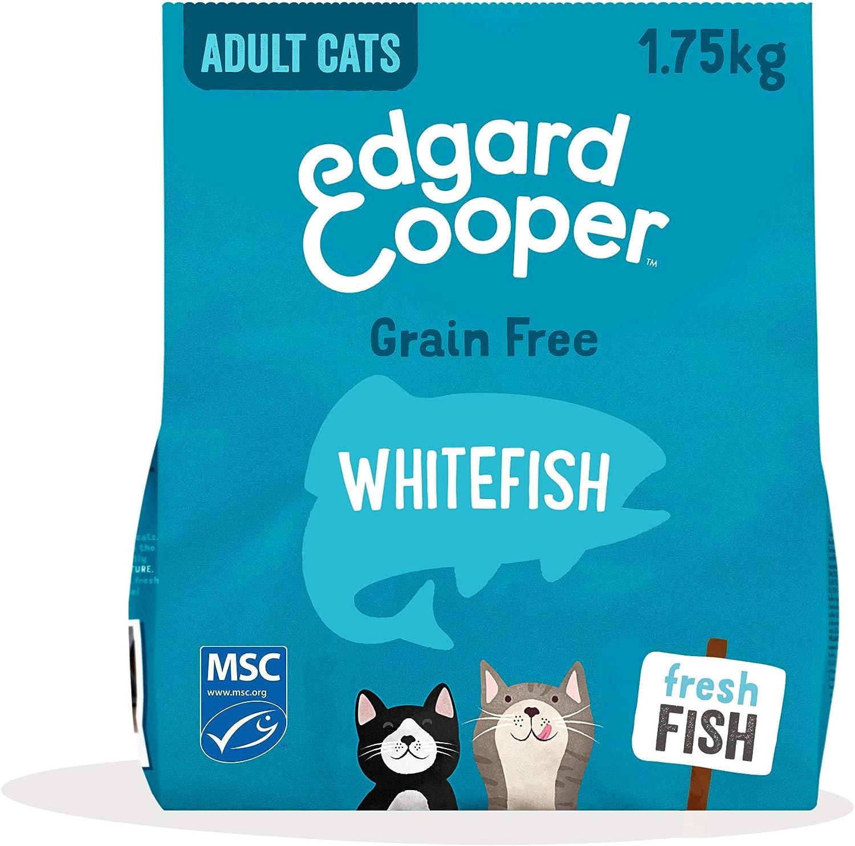Edgard & Cooper pienso Gatos Adultos SIN Cereales. Comida Natural con Pescado Blanco 100% Fresco con certificación MSC, 1.75kg. con antioxidantes Naturales. Apto para Gatos esterilizados