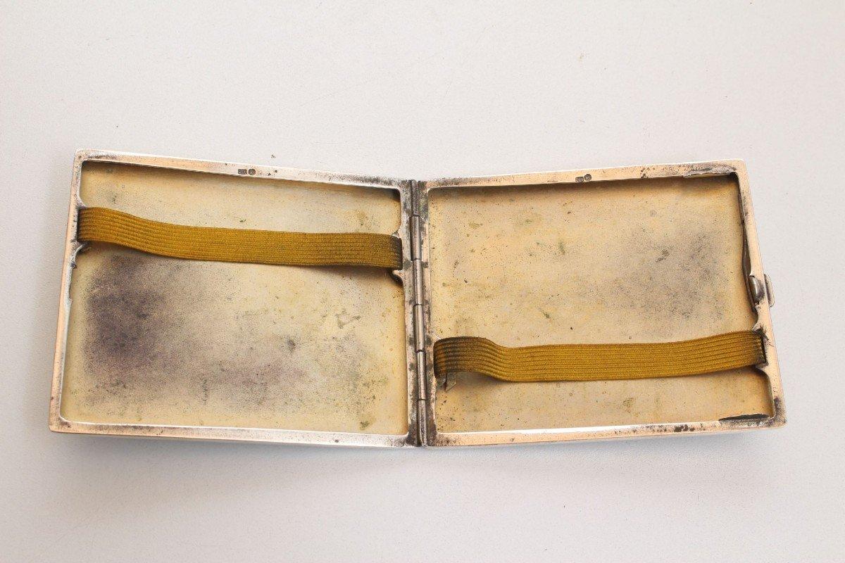 Art Deco Silber, 800er- 925er Zigarettenetui Zigarettenbox Silber Punziert 800 Wk Monogrammiert H.h