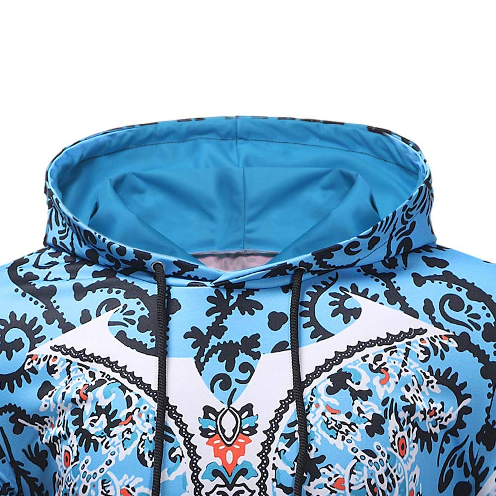 Balakie Mens Long Sleeve Ethnic Printed Hoodie Sweatshirt Tops Blouse Purple,White,Blue,Red,Green,M//L//XL//XXL//XXXL