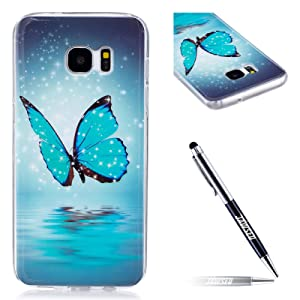 JAWSEU Coque pour Samsung Galaxy S7 Edge,Samsung Galaxy S7 Edge Silicone Etui Ultra Slim,Samsung Galaxy S7 Edge Soft Cover Proective Case,2017 Neuf Design Noctilucent Flash Funny Pattern Femme Homme TPU Case Ultra Mince Doux Gel Etui Flexible Souple Coque en Silicone Transparent Caoutchouc Bumper Protecteur Housse Etui+1*Noir Stylo Paillettes-papillon