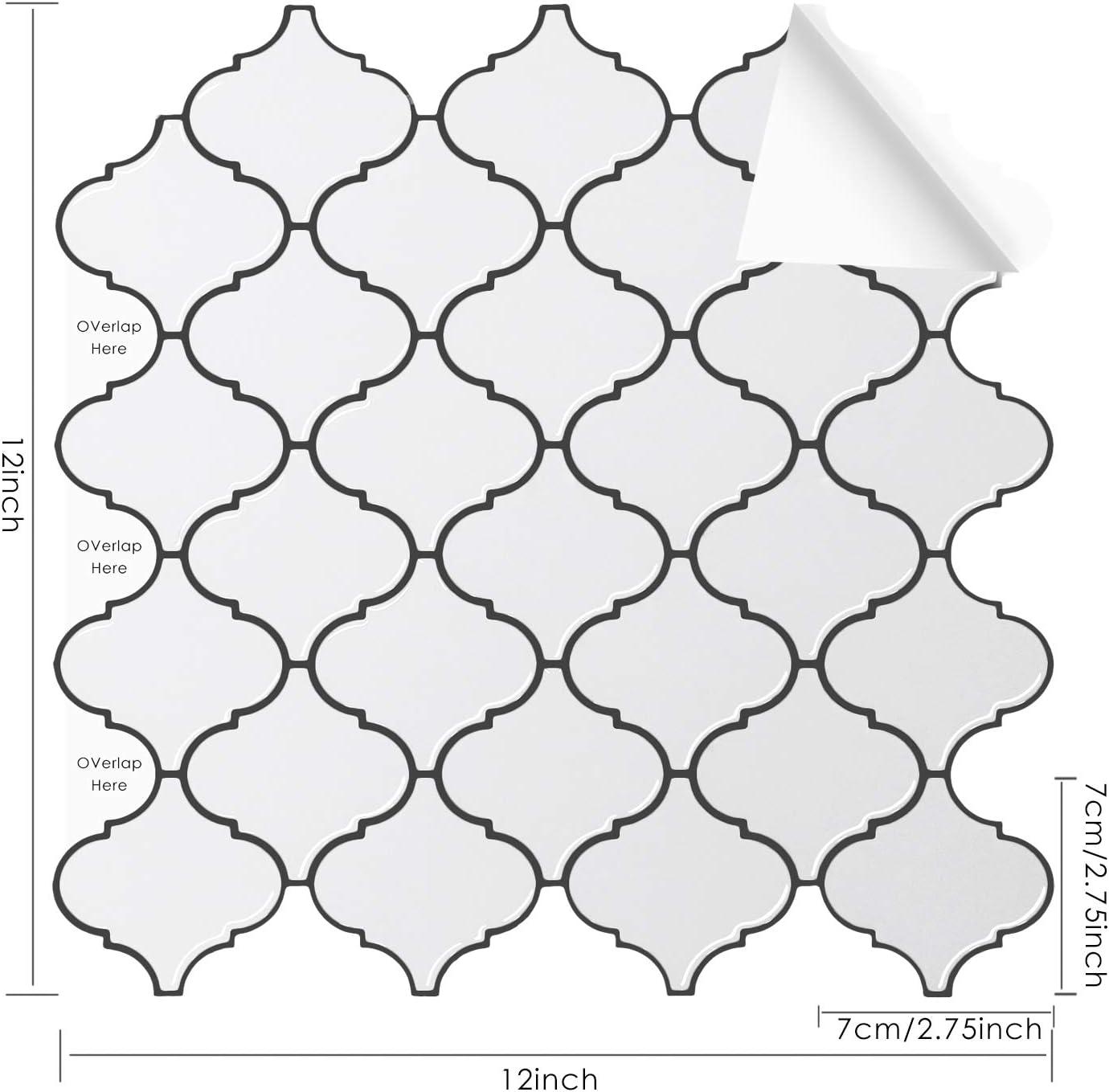 Peel and Stick Arabesque Tile Wall Sticker Living Room Bathroom Bedroom Self Adhesive Removable 3D Wall Sticker for Kitchen Decorative Tile Backsplash 5-Sheet, 12 x12
