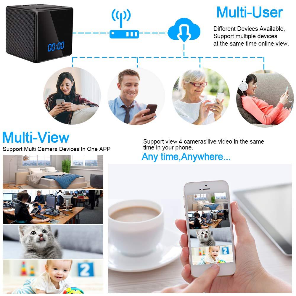 C/ámara Esp/ía Oculta WiFi TANGMI Altavoz Bluetooth Despertador HD Inal/ámbrico Video Vigilancia C/ámaras de Seguridad Detecci/ón de Movimiento Visi/ón Nocturna