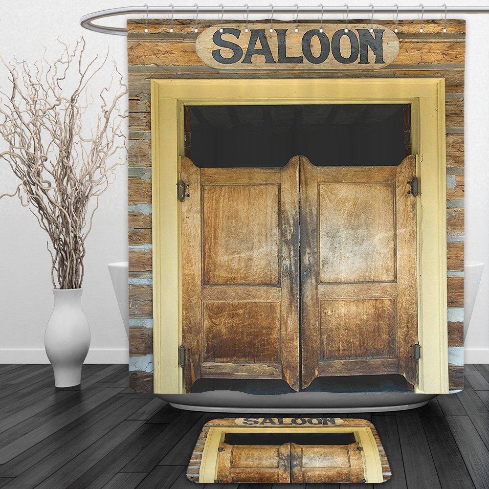 Amazon.com: Vipsung Shower Curtain And Ground MatSaloon Decor ...
