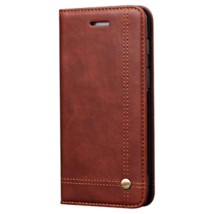 save off 1137a 6c645 Pirum Magnetic Flip Cover for Oneplus 6 One Plus 6 - Leather Case Wallet  Slim Folio Book Cover with Credit Card Slots Cash Pocket Stand Holder -  Brown