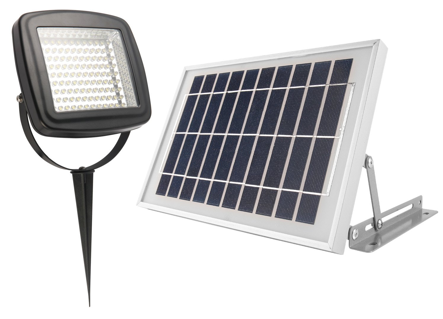 MicroSolar - NATURAL WHITE (Not Bluish) 400 LUMEN - 5W ANGLE ADJUSTABLE Solar Panel - Lithium Battery Solar Flood Light  // Wall or Ground Mounted // 2 AXES Adjustable Light Fixture