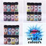 immix Ultra Fine, Colour Burst, Mix Pearls, Special Water Soluble, High Pigment Metallic Glitter Powder for Scrapbooking, Canvas, Fabric (Set of 24 Colours)