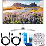 """LG 27MP89HM-S 27"""" FreeSync IPS Borderless 1920x1080 Gaming Monitor w/Accessories Bundle Includes, 2 x 6ft. HDMI Cable, SurgePro 6-Outlet Surge Adapter w/Night Light, Screen Cleaner For LED TVs"""