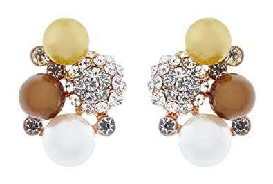 Clip On Earrings - Gold Plated Vintage Pearl & Crystals - Bertha G by Bello London 67YK6zn2F