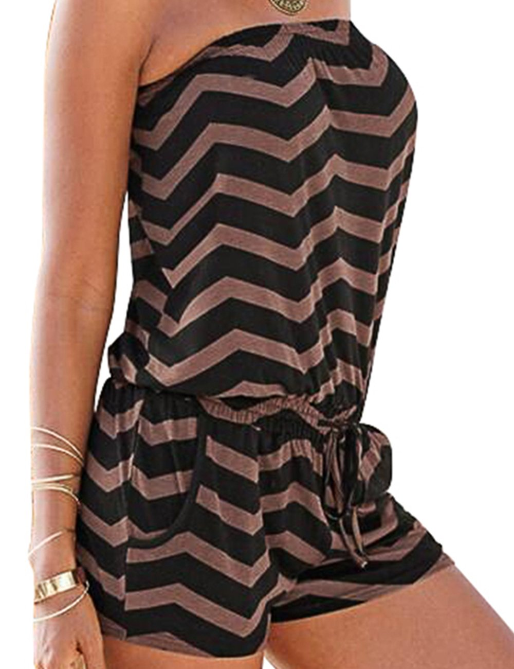 Sexyshine Women's Strapless Off Shoulder Printed Beachwear Short Rompers Jumpsuits, Coffee , X-Large