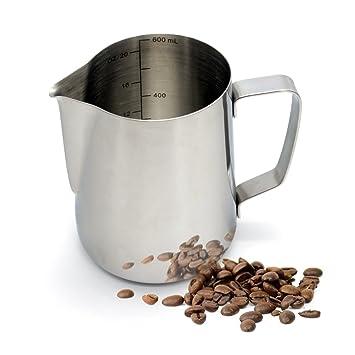 warmoor para espuma de leche de acero inoxidable jarra, al vapor profesional Latte Leche Jarra para máquinas de café Espresso y Latte Art: Amazon.es: Hogar