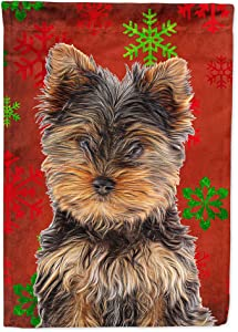 Caroline's Treasures KJ1188GF Red Snowflakes Holiday Christmas Yorkie Puppy/Yorkshire Terrier Flag Garden Size, Small, Multicolor