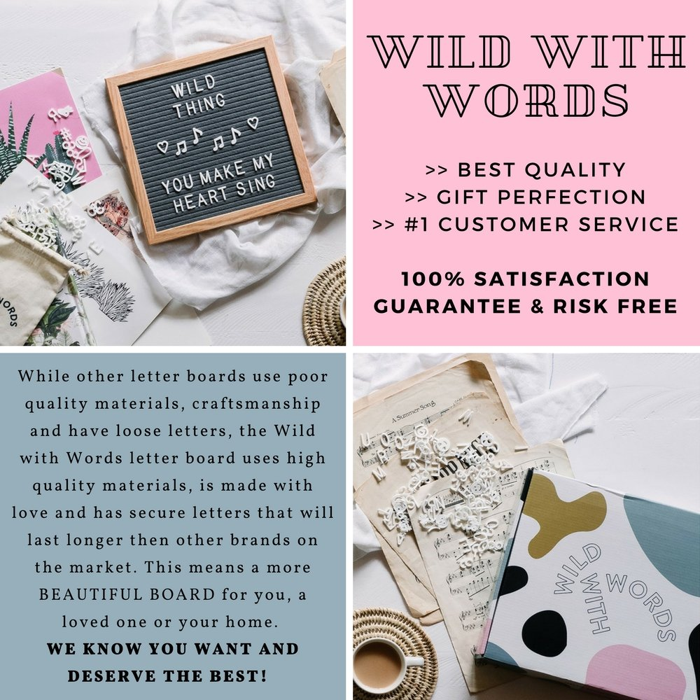 Amazon.com : Wild With Words Letter Board Set 10x10 Small Wooden and ...