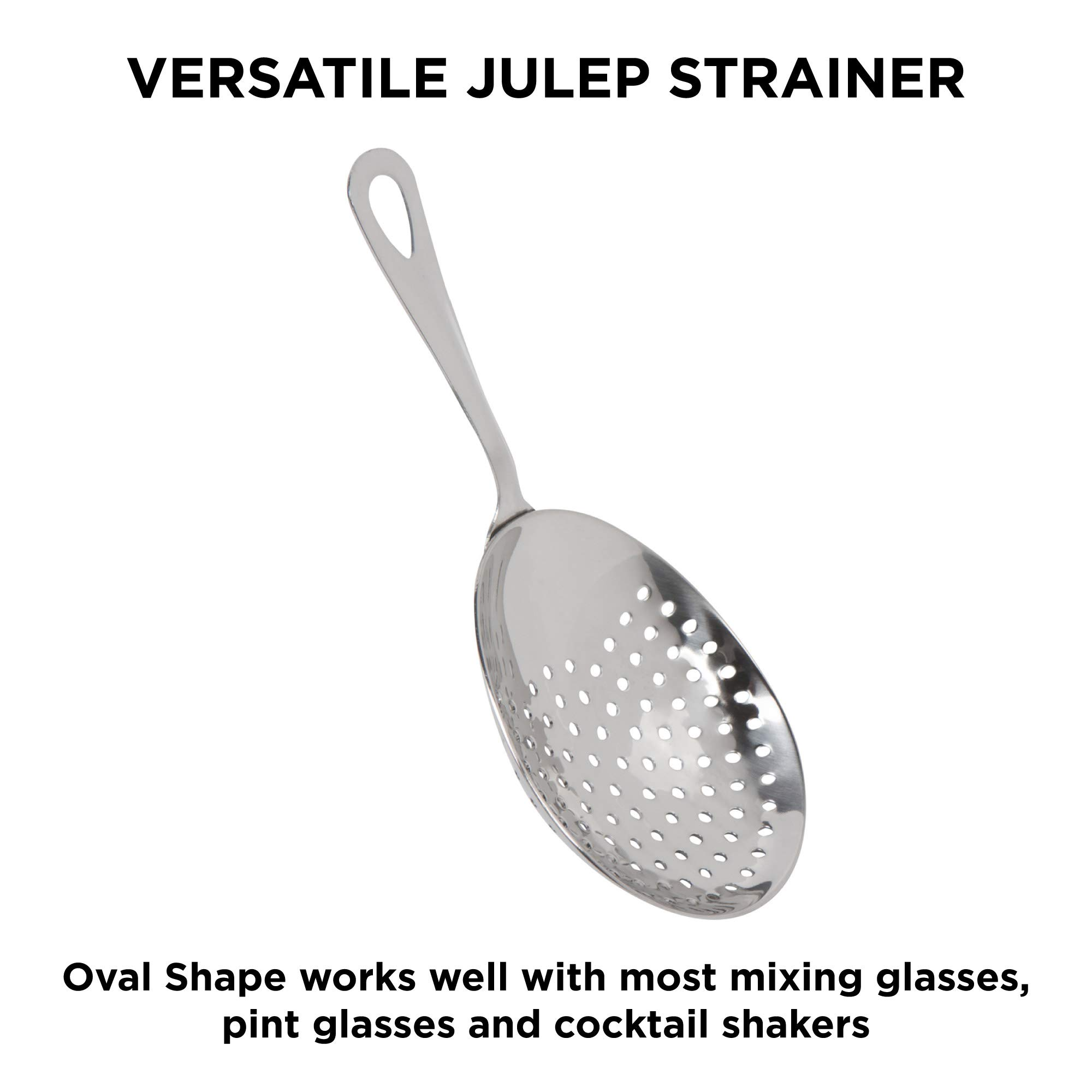 Cocktail Strainer Set: Stainless Steel Hawthorne Strainer, Julep Strainer and Conical Fine-Mesh Strainer by Top Shelf Bar Supply by Top Shelf Bar Supply (Image #4)