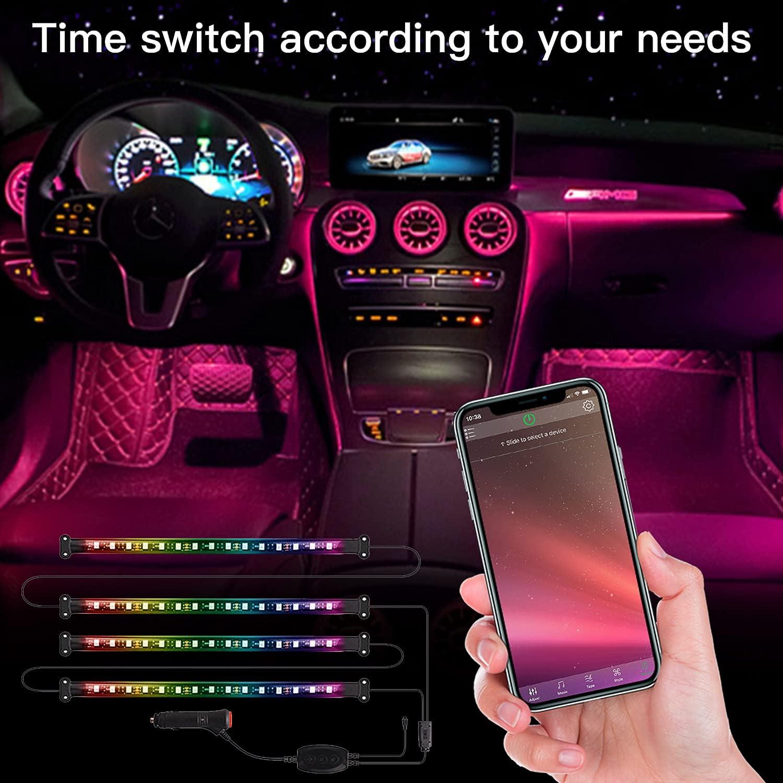 Car Led Lights with App Control and Remote Control RGB Color and Music Mode Interior Car Lights 4 Pcs 48 Led 2 Lines Design,Cigartte Lighter DC 12V