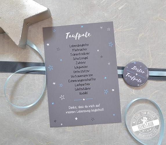 Taufpate Fragen Karte Mit Button Geschenk Für Patenonkel