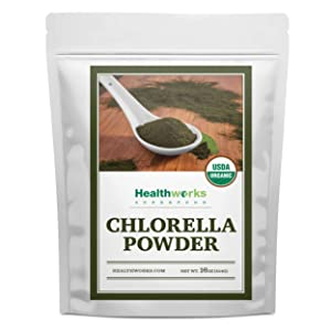 Healthworks Chlorella Powder Organic (16 Ounces / 1 Pound)   Broken Cell Wall & All-Natural   Protein, Vitamin C & E   Great with Smoothies & Baked Goods