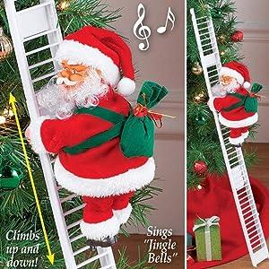 Climbing Santa Claus on Ladder,Electric Santa Climbing Ladder to Tree, Climbing Up and Down Santa Claus on Ladder with Music and Bag of Presents Tree Holiday Party Home Door Wall Decoration Xmas Ornam