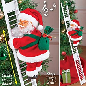TRIMAKESHOP Climbing Santa Claus on Ladder,Electric Santa Climbing Ladder to Tree with Lights Plush Doll Toy Christmas Wall Doll Decoration for Christmas Party Home Door