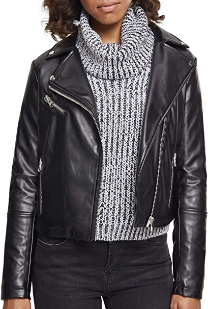 Urban Classics Ladies Faux Leather Biker Jacket Chaqueta ...