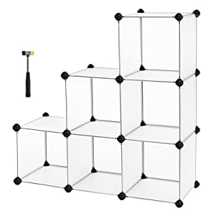SONGMICS Cube Storage Organizer, 6-Cube Closet Shelves, DIY Plastic Cabinet, Modular Bookcase, Storage Shelving for Bedroom, Living Room, Home Office, with Rubber Hammer White ULPC06W
