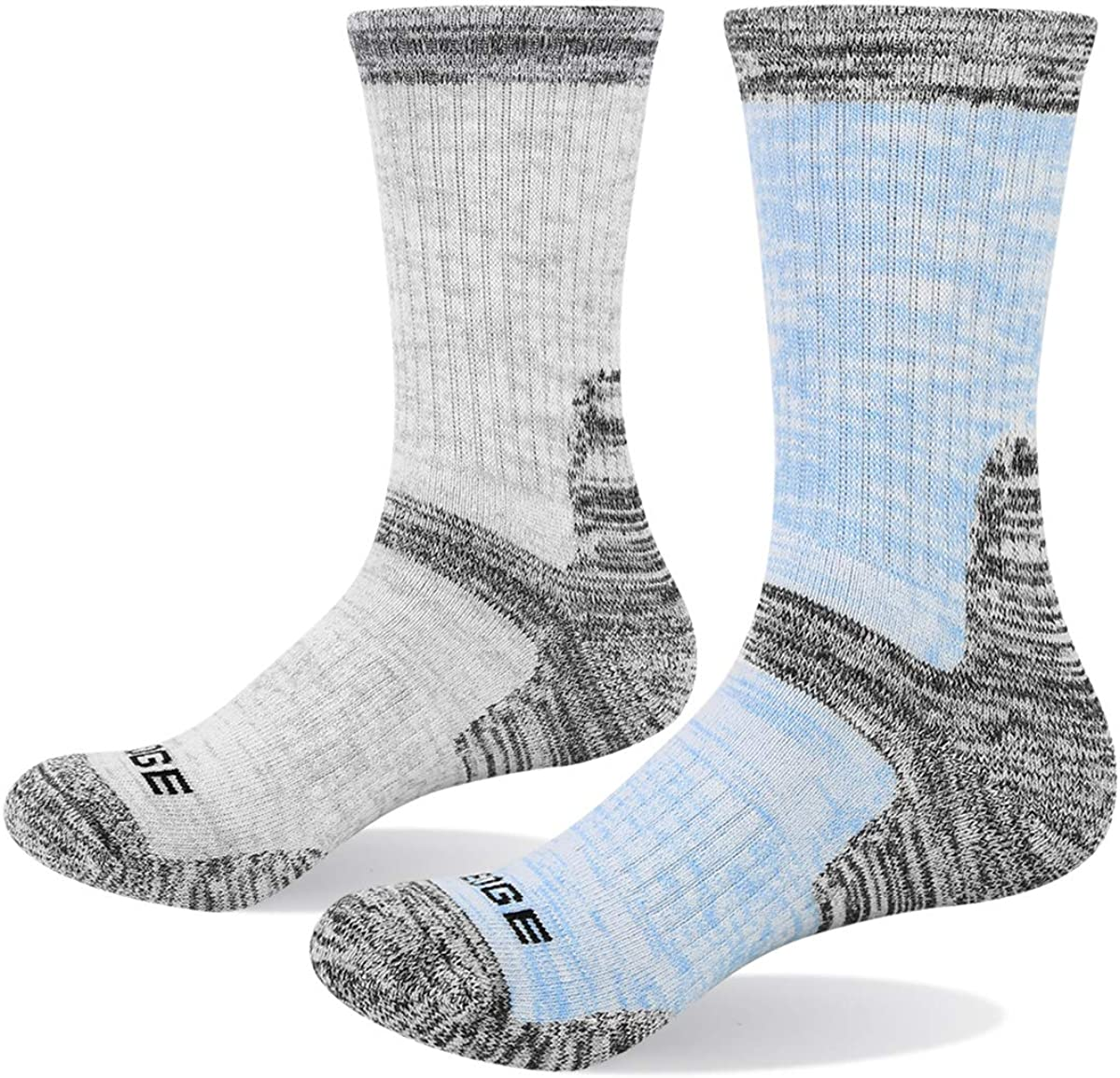 YUEDGE Women's Cushion Cotton Crew Socks Multi Performance Athletic Hiking Socks(2 Pairs/Pack)