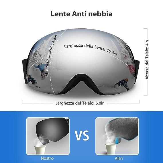 enkeeo occhiali da sci  ENKEEO Maschera da Sci, Occhiali da Snowboard Full Frame, Doppia ...