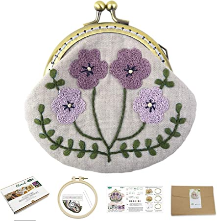 Embroidery Starter Kit for Beginners Coin Purse Embroidery Kits Handmade DIY Kiss Lock Coin Purse for Women Embroidery Supplies Bloom