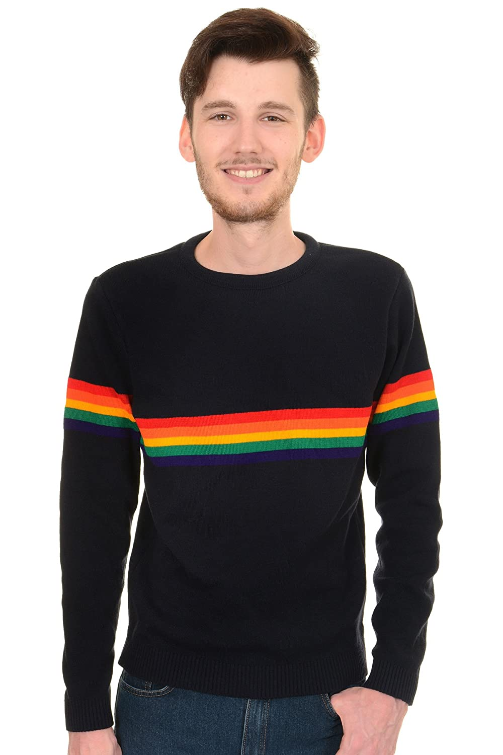 Men's Vintage Style Sweaters – 1920s to 1960s  60s 70s Vintage Retro Rainbow Indie Jumper $39.95 AT vintagedancer.com