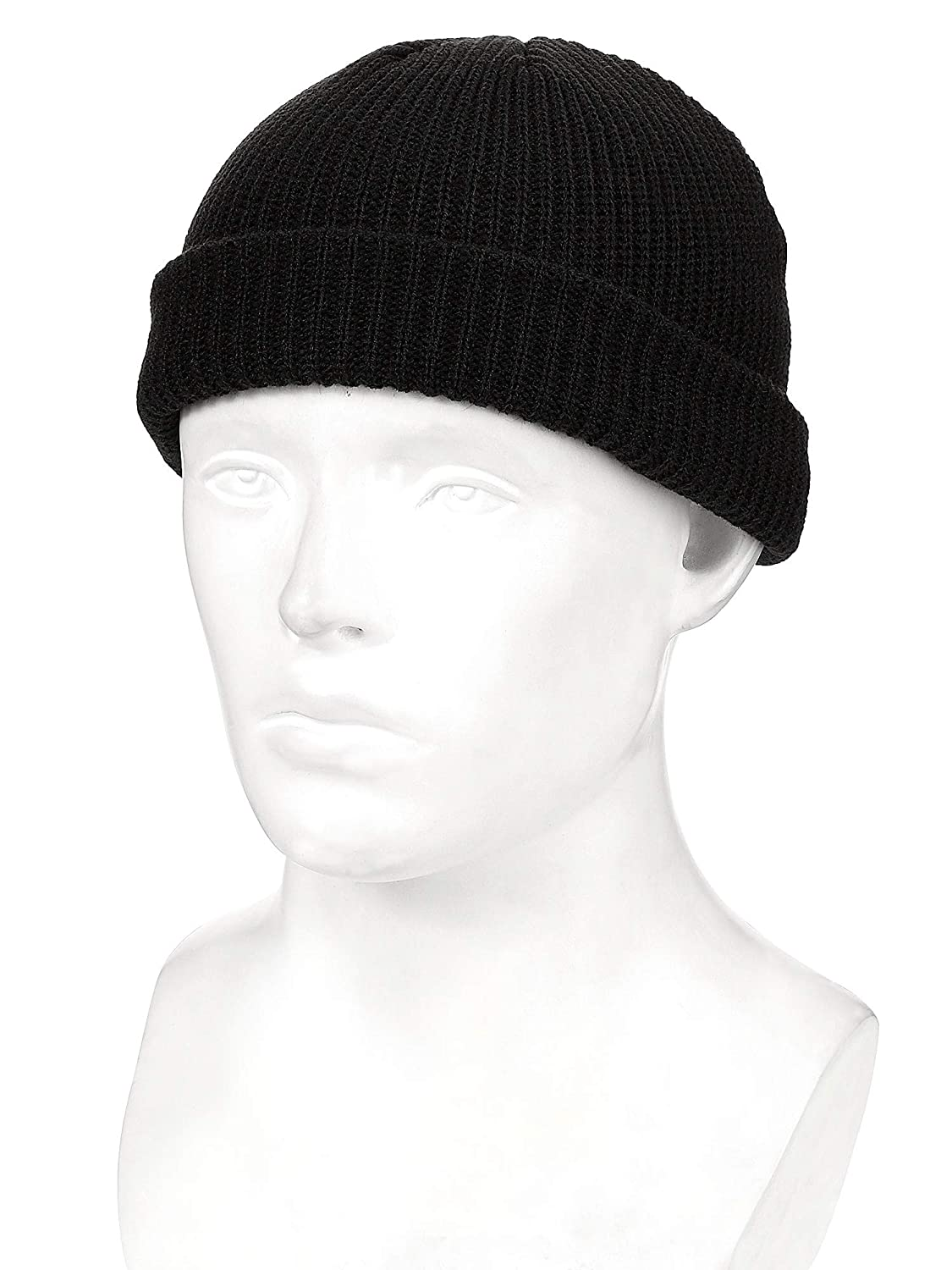 SATINIOR 2 Pieces Winter Trawler Beanie Hat Short Fisherman Skullcap Knit Cuff Beanie Cap for Men Daily Wearing