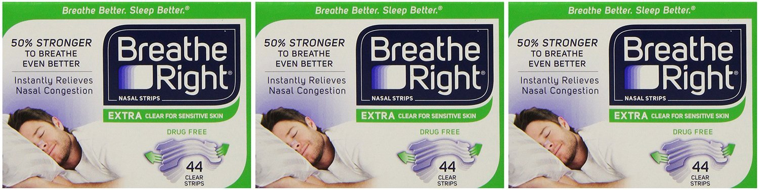 Breathe Right gHQII, Nasal Strips Extra Clear for Sensitive Skin 44 Count (Pack of 3)