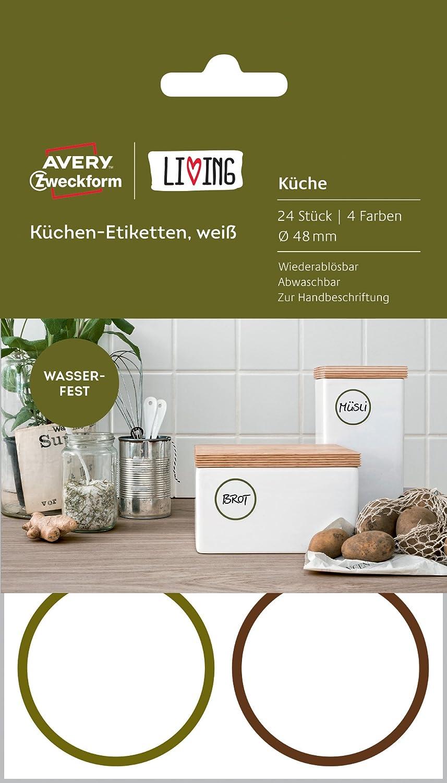 Avery Zweckform 62001 Living Küchen Etiketten (Ø 48 mm, 4 Farben) 24 ...