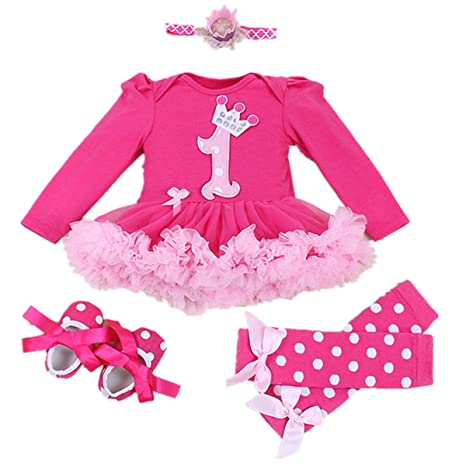 9111c40d047f7 Buy WINMI Baby Girls 1st Birthday Onesie Outfits Tutu Dress 4PCs (L ...