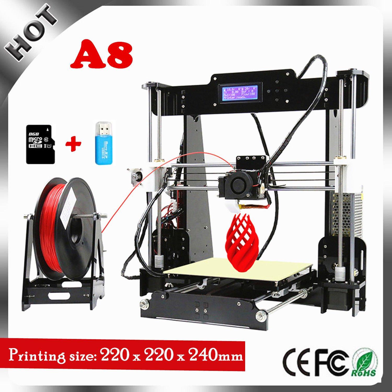 Anet A8 3D Drucker, Prusa I3 3D Printer DIY, 3D-Drucker Kit, Upgradest High Precision Selbstbauen 3D Drucker mit LCD Bildschirm A832600