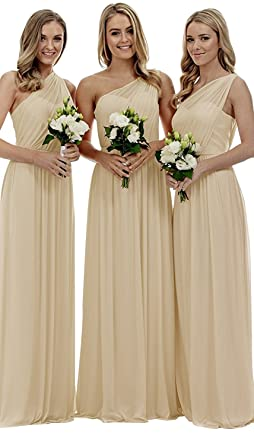 Review Women's Long One Shoulder Bridesmaid Gown Asymmetric Prom Evening Dress