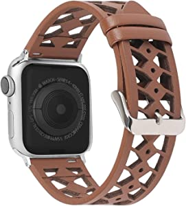 Moolia Leather band Compatible with Apple Watch Band 38mm 40mm for iWatch Series 6 5 4 3 2 1, Hollow-Carved Design Breathable Leather Strap for Women Girls Brown