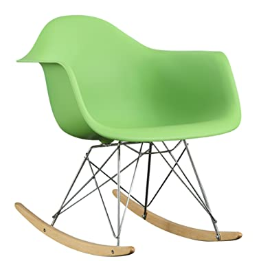 Modway Molded Plastic Accent Lounge Chair Rocker in Green