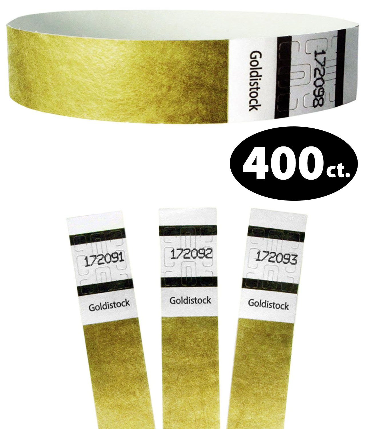 Goldistock Original Series - 3/4'' Tyvek Wristbands Metallic Gold 400 Count - Event Identification Bands (Paper - Like Texture)