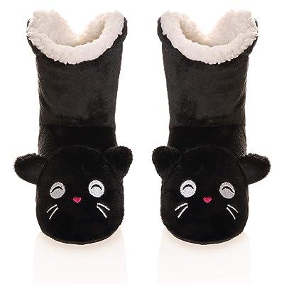 OUPEI Women Indoor Slipper Booties Socks Plush Fleece Soft Warm Cozy Fuzzy Lined Slipper Shoes (Black)   Slippers