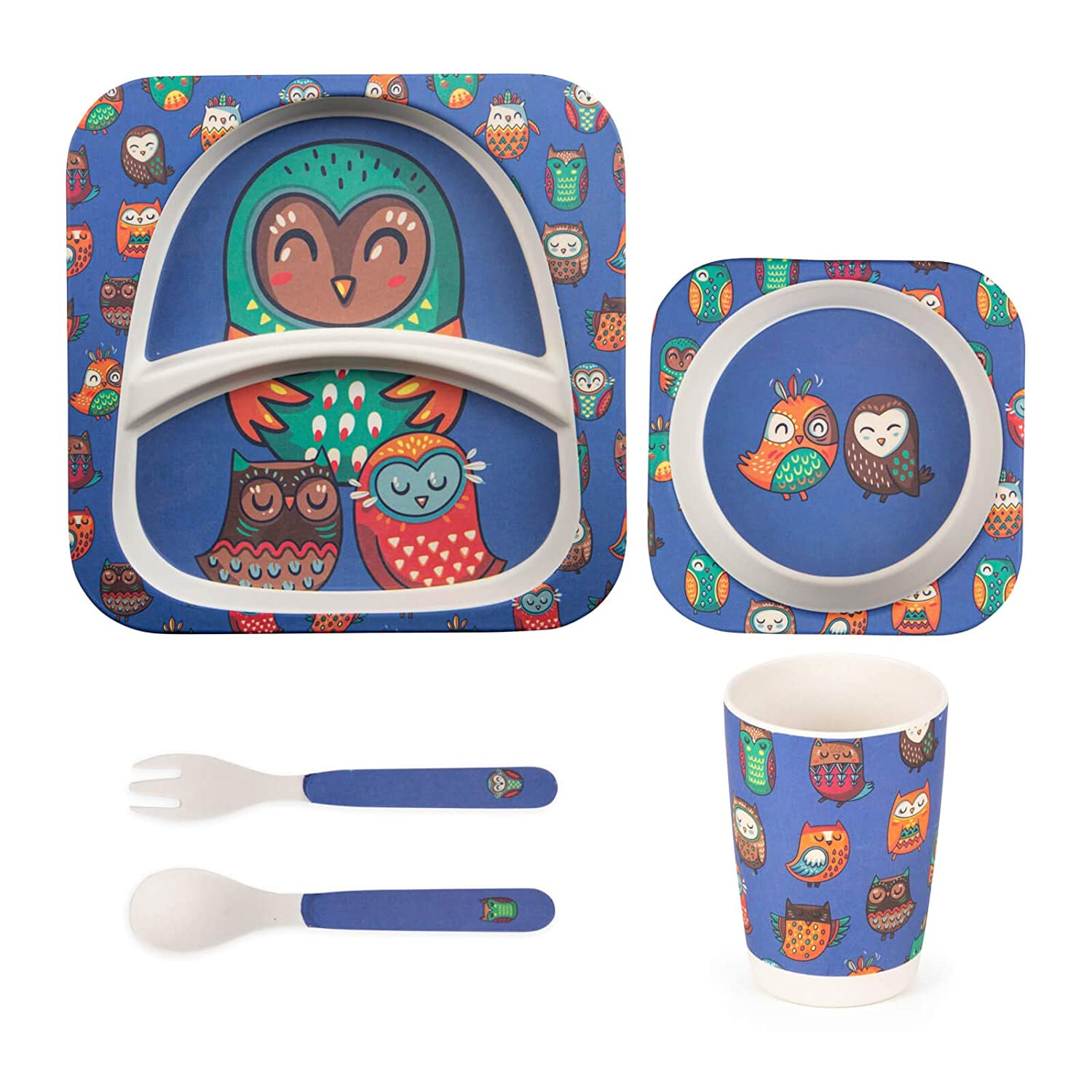 Kinder Geschirr Set Owl 5 teiliges Kindergeschirr Set aus Bambus Kinderbesteck M/üslischale Trinkbecher Kinderteller