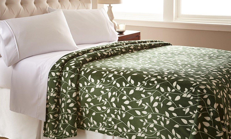 Black//Ivory KDV-Leaf Design Blanket Q Black//Ivory Elegant Comfort Ultra Super Soft LEAF Pattern DESIGN Luxurious Queen Size Blanket