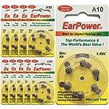 60 Piles Auditives EarPower Taille 10/A10 (lot de 10 plaquettes) - Pour Appareils Auditifs/Aides Auditives - Sans Mercure - Voltage 1.45V/PR70/Premium ZINC AIR/A10/P10/