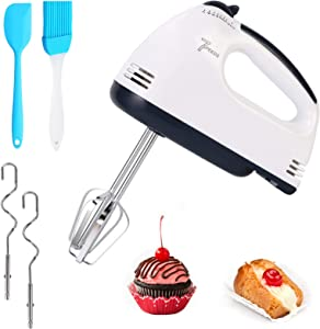 [New Upgrade]Hand Held Mixer Electric Kitchen Whisk Portable Hand Mixer 7-Speeds Food Baking Mixers with 2 Beaters 2 Dough Hooks Mini Egg Cream Food Beater for Kitchen Making Caket(include gifts)