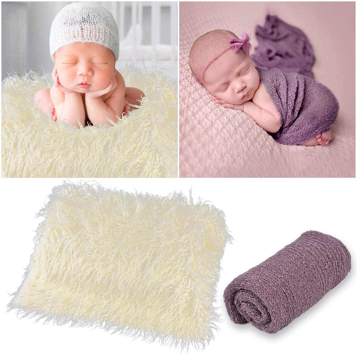 Kapmore Baby Swaddle Blanket Soft Hairy Wraps Photo Prop for Newborn Photography by Kapmore