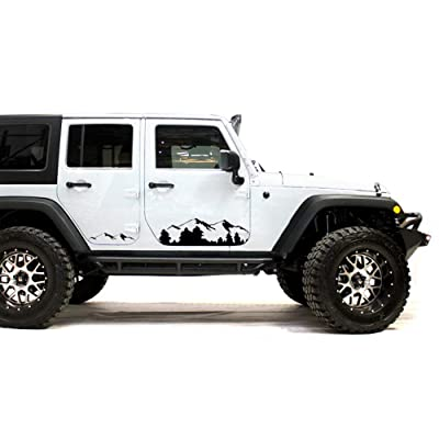 Bubbles Designs Black Mountains Decal Sticker Compatible with Jeep Wrangler Rubicon Jk jl 1986-2020: Automotive