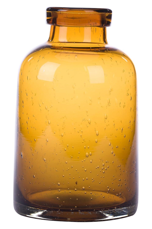 Glitzhome Hand Blown Bubble Tabletop Art Glass Vase 7.87 Inch, Amber JK90644
