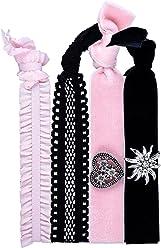 SIX 4er Set elastische Bänder: Haarschmuck und Armband für feierliche Anlässe, Herz- und Edelweiss-Anhänger, Samt-Stoff, elastisch, rosa/sch (485-321)