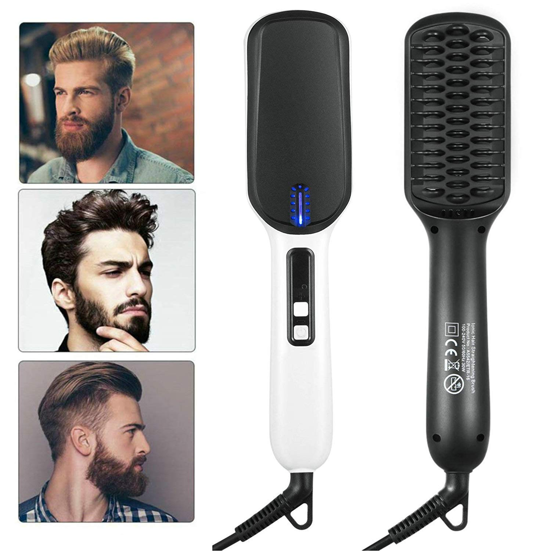 BEATTYMAMA Beard Straightener for Men, 2019 Dual Voltage (100V-240V) Quick Hair Styler Ionic Beard Straightening Heat Brush Curling Hair Comb Electric Hair Comb for Men Women Home Travel