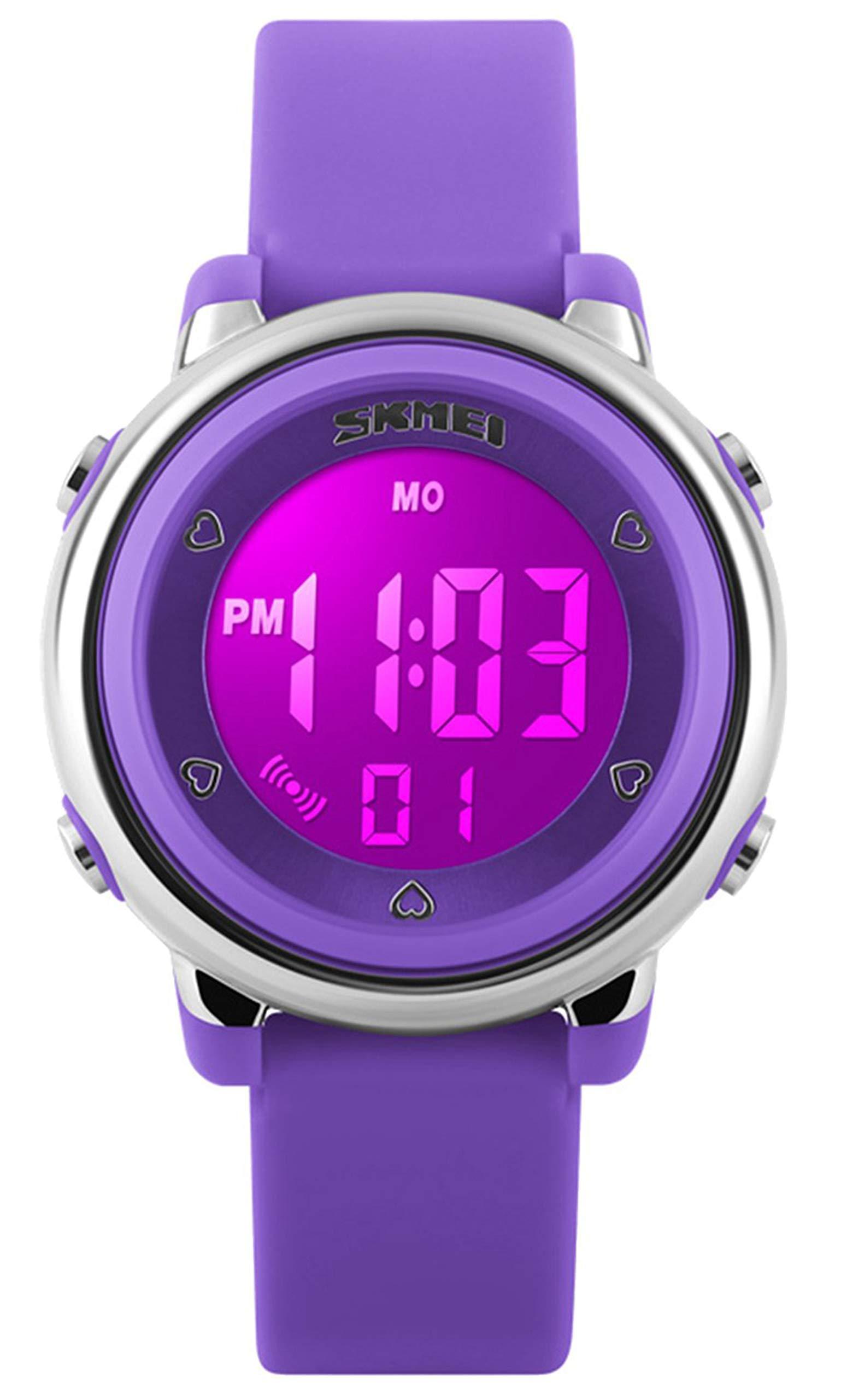 Kid Watch Multi Function 50M Waterproof Sport LED Alarm Stopwatch Digital Child Wristwatch for Boy Girl Purple by USWAT