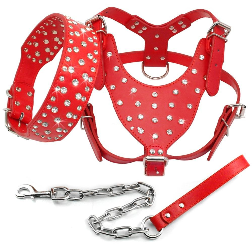 Benala Shine Bling Rhinestone Studded Leather Dog Harness&Collar&Leash Walking Set 3Pcs Medium Large Dogs Pitbull Boxer Terrier,Red,XL by Benala