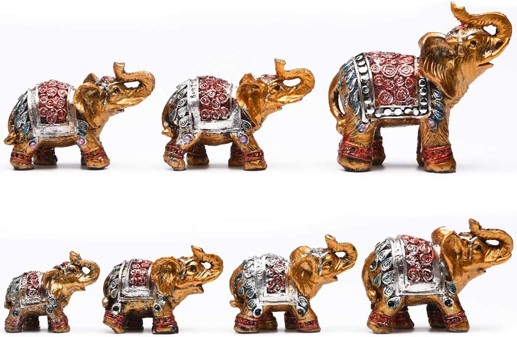 Pottery Elephant Statue Brown Handmade Animal Figurine Knick Knack Good Luck Trunk Up